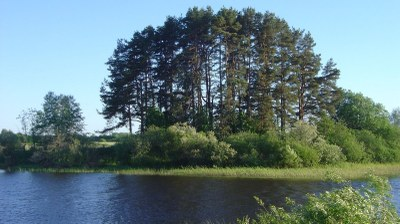 The Riņņukalns site, a Stone Age shell midden on the banks of the Salaca River near the outflow from Lake Burtniek.