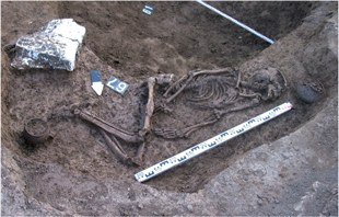 The excavated grave of the male skeleton from the North Caucasus foothills