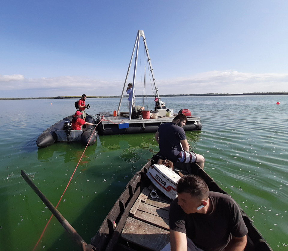 Drilling lake sediments as part of an excavation opens up archives of environmental history